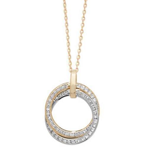 Cercles en or 9carats-Collier Femme-Oxyde de zirconium