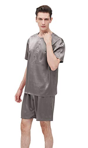 LilySilk Silk Pajamas for Men 22 Momme Real Pure Silk Simple Crew Neck Short Pajamas Set Dark Gray M