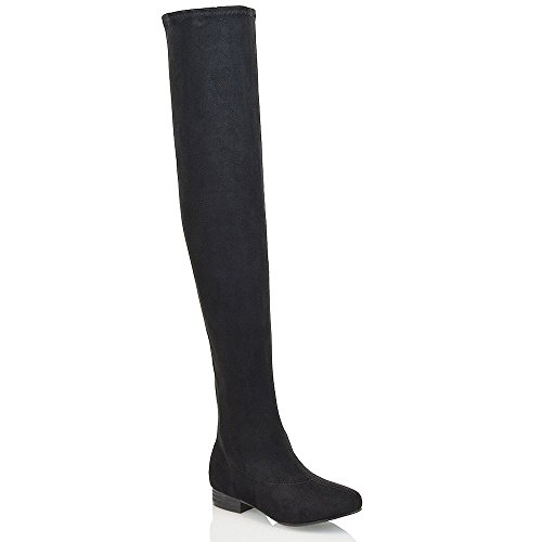 Essex Glam Womens Thigh High Stretch Black Faux Suede Over The Knee Boots 9 B(M) (Flat Over The Knee Boots)