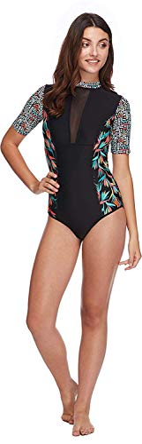 (Body Glove Women's Adventurer Zip Back Paddle One Piece Swimsuit with UPF 50+, Hang Loose Black, Medium)