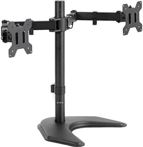 VIVO Dual LED LCD Monitor Free-Standing Desk Stand for two Screens as much as 27 inches, Heavy-Duty Fully Adjustable Arms with Max VESA 100x100mm STAND-V002F