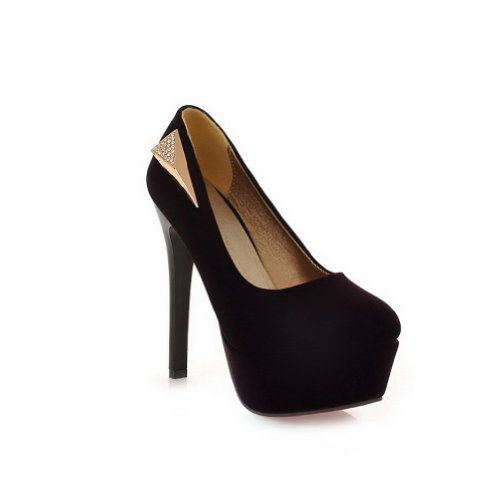 VogueZone009 Womans Closed Round Toe High Heel Suede Frosted Solid Pumps, Purple, 6 UK