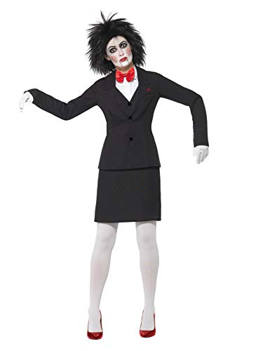 Saw Jigsaw Costume Black Jacket Shirt Skirt Bow Tie Gloves & Make-up