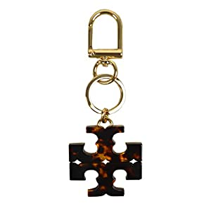 Tory Burch Womens Gold-tone T Logo Keychain Fob Tortoise Brown