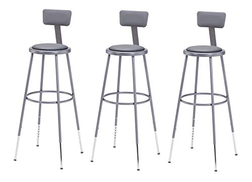 National Public Seating 6430HB-CN Steel Stool with Vinyl Upholstered Seat Adjustable and Backrest, 31