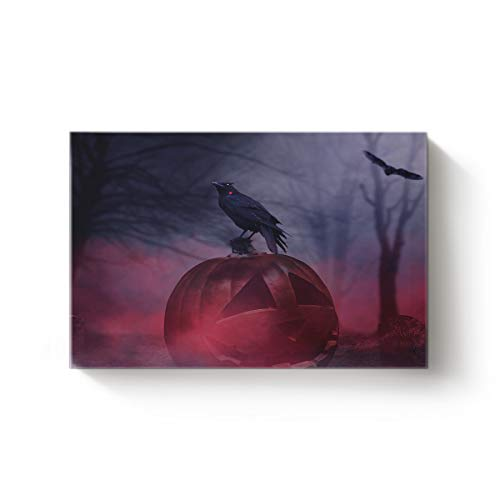 EZON-CH Modern Canvas Wall Art Artworks Home Decor for Christmas,Horror Halloween Pumpkin Crow Tombstone Design Oil Painting,Stretched by Wooden Frame,Ready to Hang,20 x 28in -