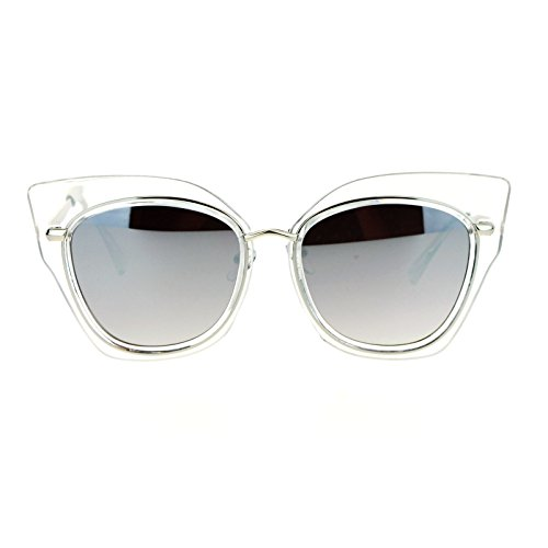 SA106 Flat Panel Mirror Lens Oversize Cat Eye Double Frame Womens Sunglasses Clear Silver (Silver Flat Panel Frame)
