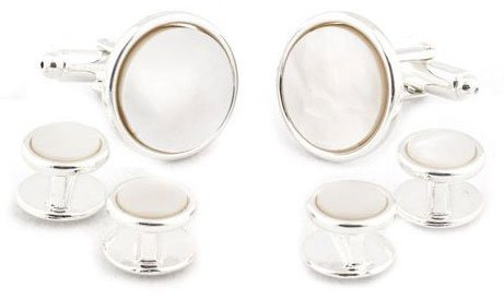 Sterling Silver Plated Mother of Pearl Cufflinks and Studs Formal Set with Presentation Box by Cuff-Daddy (Image #1)