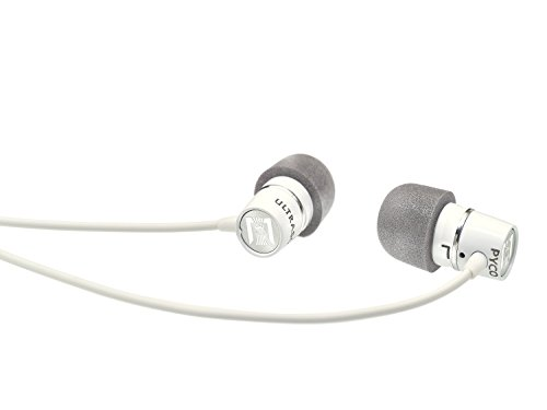 Ultrasone Pyco Aluminum High Performance In Ear Headphones with Microphone Remote Control, and Transport Case, White Satin