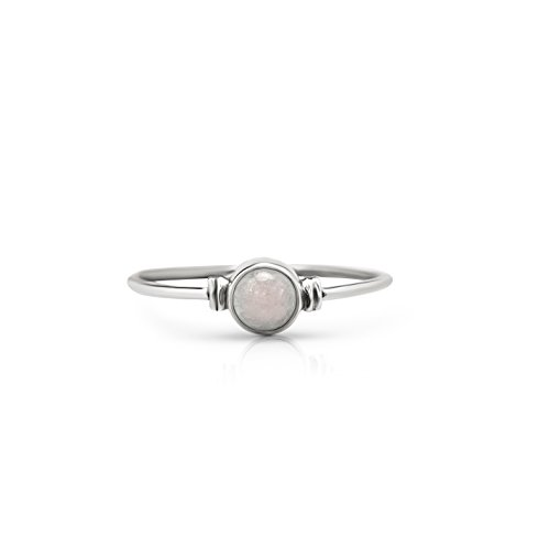 Round Moonstone Delicate Ring 925 Sterling Silver Vintage Boho Chic (6)