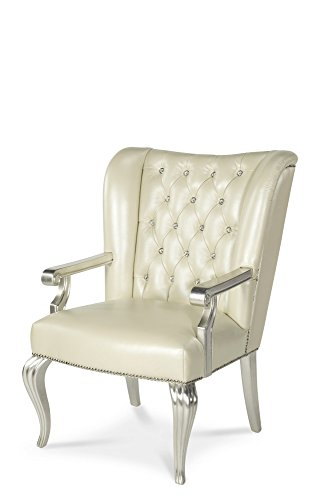 Pearl Office Chair - Michael Amini Hollywood Swank Desk Chair, Creamy Pearl