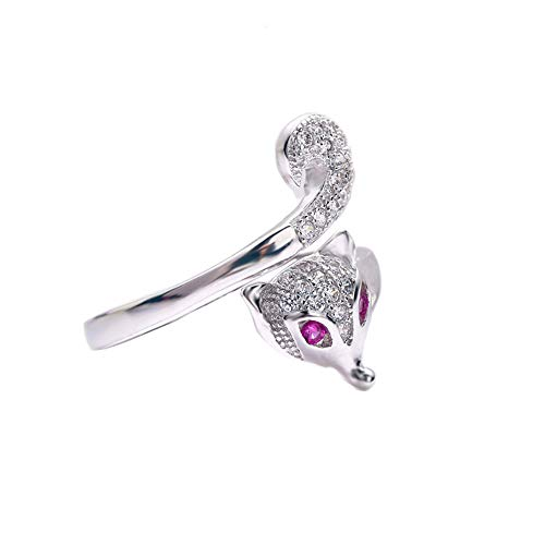 Yfnfxl Women's Adjustable Open Fox Tail Ring, Fashion Cute Lovely Animal Crystal CZ Rings for Women Sizes 6-10