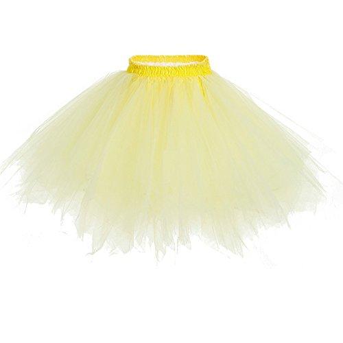 b079e7ded8a2 Damen Kurze Unterkleid Petticoat Rock Ballett Bubble Tutu Unregelmäßig  Mehrfarbige Pettiskirt Multi-Schichten Abendkleid Hellgelb