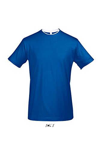 Sols - Madison - Herren Layer T-Shirt Raw Cut , Royal Blue / White , L