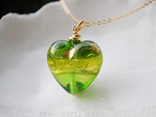 Green Heart Murano Glass Necklace ()