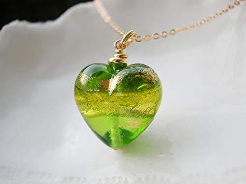 (Green Heart Murano Glass)