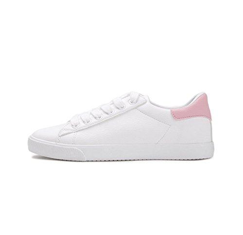 Modische Frauen Freizeitschuhe Einfache Spitze Sport Schuhe Studenten Freizeit Breathable Skateboard Schuhe ( Farbe : Grau , größe : 37 ) Pink