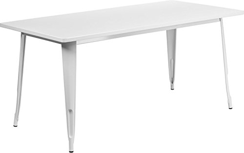 Cheap  Brimmes Rectangular 31.5'' x 63'' White Metal Table, 29.50