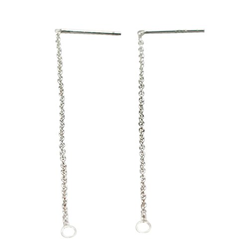Fashion Jewelry 925 Sterling Silver Long Chain Earrings Stud Findings Sold by Lot (Solid Threader Earrings)