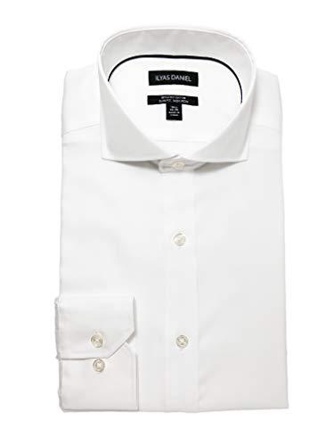 ILYAS DANIEL Men's Slim Fit Pinpoint Cutaway Collar Non Iron Dress Shirt- 100% Cotton 80s 2-ply (15'' Neck 34''-35'' Sleeve) White ()