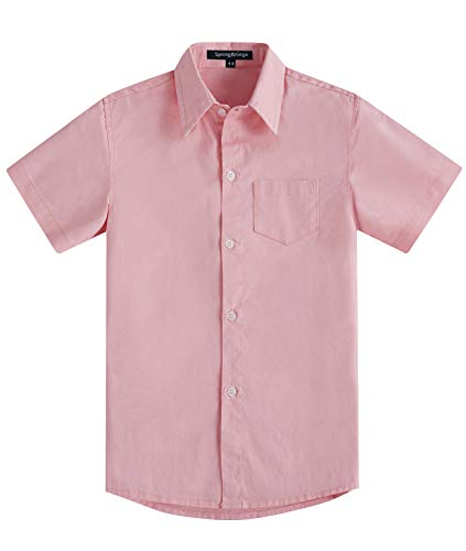 Spring&Gege Boys' Short Sleeve Solid Formal Cotton Twill Dress Shirts Pink 11-12 Years