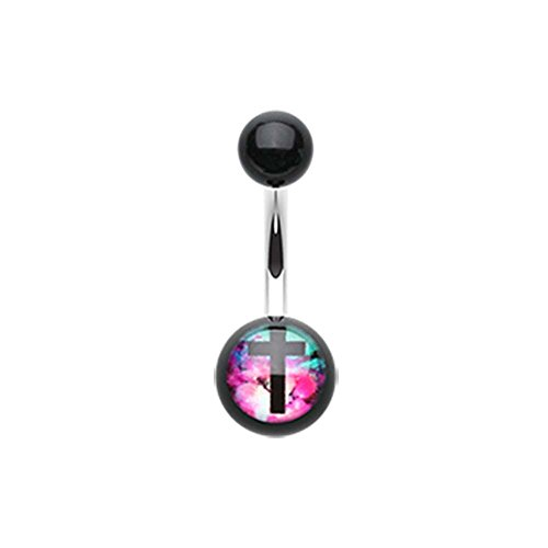 Galaxy Cross Acrylic Logo Belly Button Ring - 14G (1.6mm) - Sold Individually ()