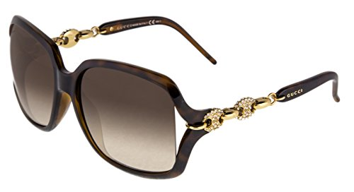 GUCCI Crystal Chain GG3597/N/F/S Brown Gold Sunglasses Square Asian Fit - Sunglasses Chain Gucci