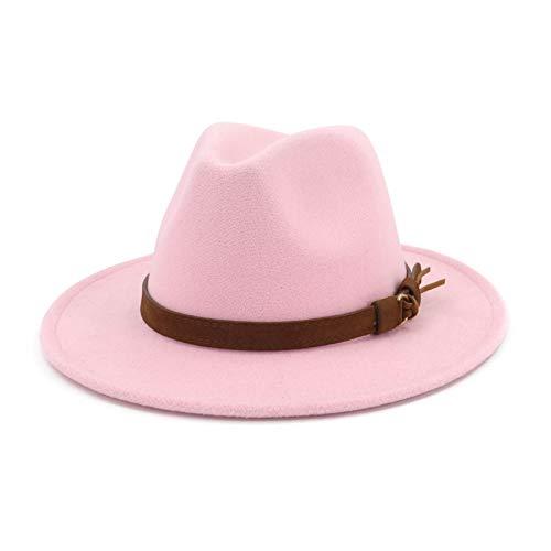 Lisianthus Men & Women Vintage Wide Brim Fedora Hat with Belt Buckle Pink 59-60cm]()