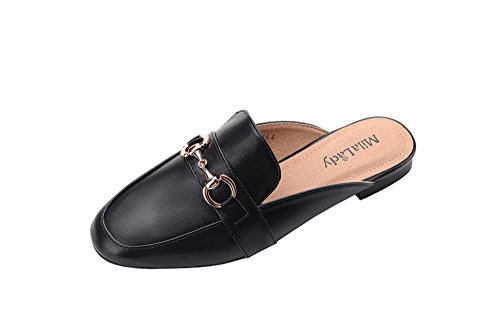 Mila Lady Womens Fashion Casual Slip On Low Heeled Mules Loafer Flat Slides Sandals Shoes Black/Pu.3