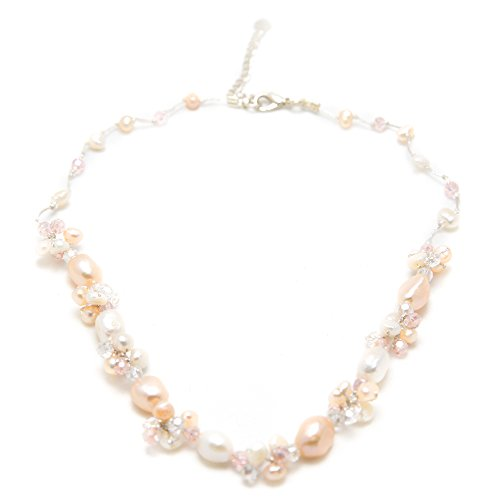 Silk Thread Peach and White Cultured Freshwater Pearl Beads Crystal Cluster Necklace, 17-19 - Peach Cultured Pearl Necklace