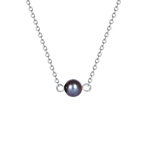 Minimalist Black Pearl Choker Necklace - 6.0 mm Potato Shape Adjustable One Pearl Necklace Jewelry Stainless Steel Small Dainty Peacock Blue Pearl Choker Collar Necklace for Women Teen Girls 14 (Potato Pearl Peacock)