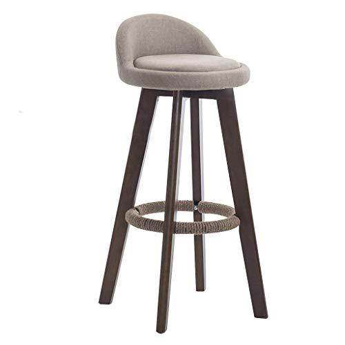 PLLP Bar, cafeteria, silla de restaurante, silla de desayuno, taburete de bar de madera, silla de barra de rotacion de 360 °, silla de arpillera, reposapies con respaldo bajo, banco de desayuno de