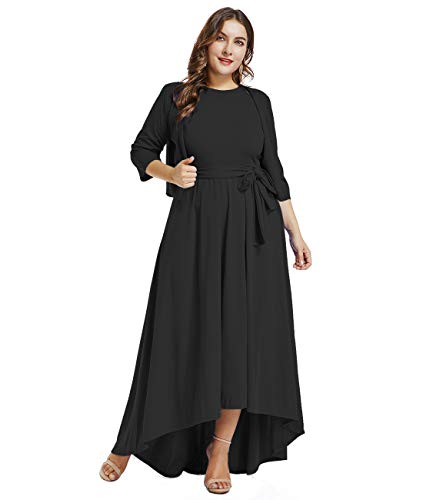 LALAGEN Womens Plus Size Sleeveless Belted Party Maxi Dress with Cardigan Black