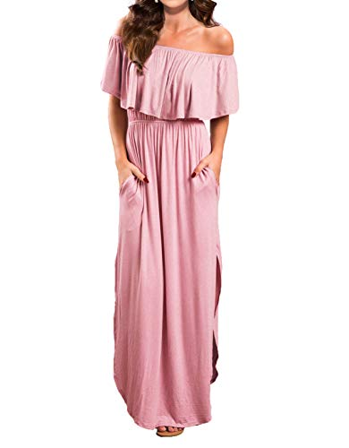 VERABENDI Women's Off Shoulder Summer Casual Long Ruffle Beach Maxi Dress with Pockets Medium -