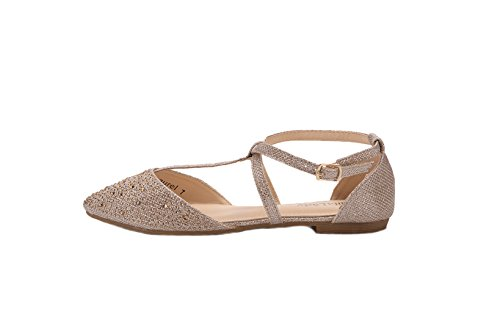 Strap D'Orsay New Fashion Flats Mila Womens Pointed Lady T Champ Ankle Toe Laurel Wrap qPExwv6C