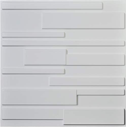 (Art3d White Wall Panels Brick Design 3D Wall Panels, White, 12 Tiles 32 Sq Ft)