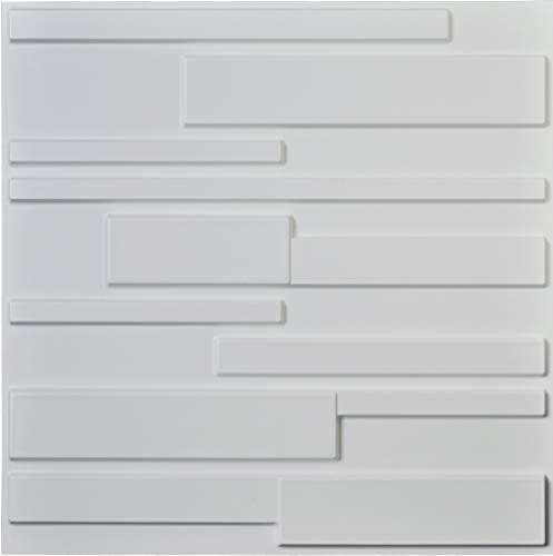 Art3d White Wall Panels Brick Design 3D Wall Panels, White, 12 Tiles 32 Sq