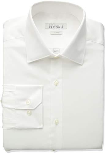 (Perry Ellis Men's Slim Fit Wrinkle Free Dress Shirt, Bright White Solid 15 32/33)