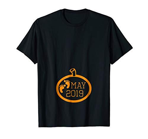 May Halloween Funny Pumpkin Pregnancy Announcement Shirt