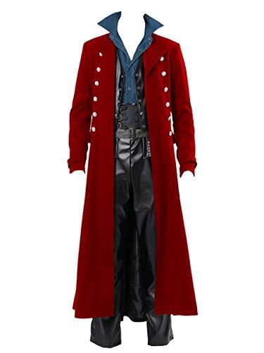 Mens Gothic Steampunk Vintage Jacket Medieval Renaissance Victorian Frock Coat Halloween Costume Tailcoat Red (Johnny Depp Steampunk)