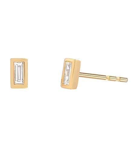 Diamond baguette stud earrings, Zoe Lev ()