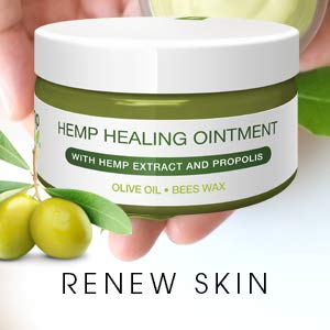 Premium Hemp Healing Skin Ointment | Natural Hemp, Propolis, Virgin Olive Oil, Lavender | Rejuvenates Irritated Skin from Psoriasis & Eczema, Reduces Signs of Aging, Stretch Marks, Scars