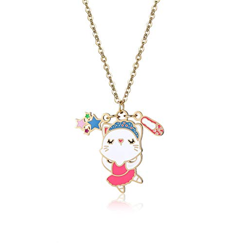 Gold Cute Lucky Cat Pendant Necklace Jewelry for Women Girls Kids Cat Lover Gifts]()