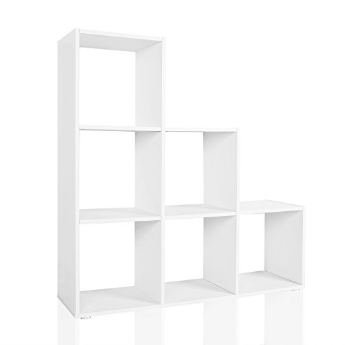 Étagère 6 cases Couleur blanche Etagère escalier Diviseur de pièce Bibliothèque Meuble Rangement
