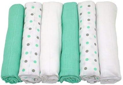 MuslinZ - Juego de 6 Cuadros de Muselina para bebé, 100% algodón Puro, 70 x 70 cm, Mezcla de Puntos de Menta: Amazon.es: Bebé