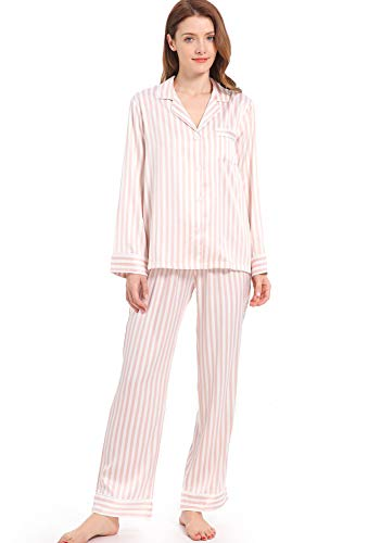 Serenedelicacy Women's Silky Satin Pajamas Striped Long Sleeve PJ Set Sleepwear Loungewear (Medium / 8-10, Stripe Blush Ivory)