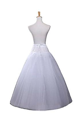 Ellames Women's Hoopless A Line Bridal Petticoat 4 Layers Wedding Crineoline Slip
