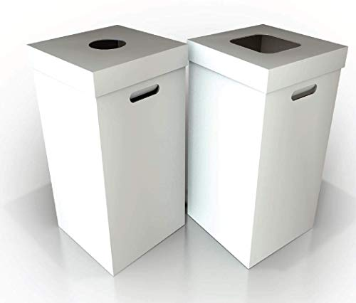 Disposable Cardboard Trash and Recycling Boxes: Bin + Lid + Trash Bag- White (Qty. 10 - Cans Trash Recycling
