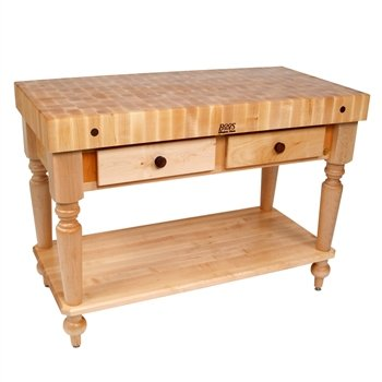 American Heritage Rustica Kitchen Island with Butcher Block Top Size / Shelves: 30'' W x 24'' D / 1 Included, Base Finish: Caviar Black