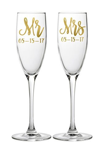 Customized Mr and Mrs Champagne Wedding Glasses with Dates Hand Written Lettering Set of 2 Toasting Flutes Bride and Groom - Bondi Glass